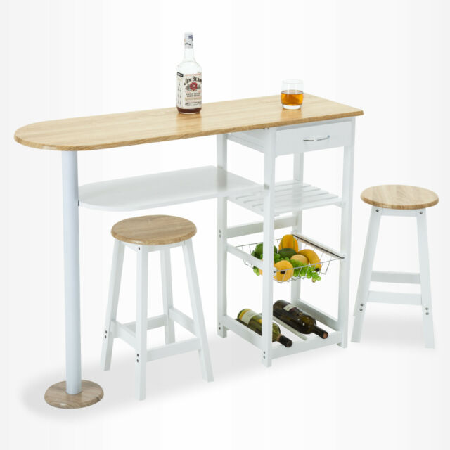 Charmant Oak White Kitchen Island Trolley Cart Dining Table Storage 2 Bar Stools U0026  Drawer