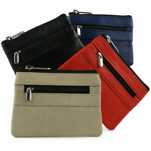 Ladies-Mens-Zipped-Leather-Coin-Purse-Colours-Key-Chain-by-Oakridge-4-Colours