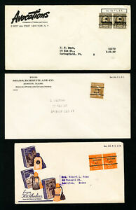 US-Lot-of-7-Clean-Pre-Cancel-Advertising-Stamp-Covers