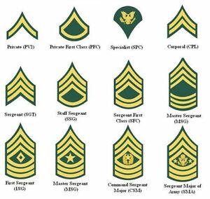 US Army Enlisted Rank Patch - Embroidered Insignia Patches Choice of Rank