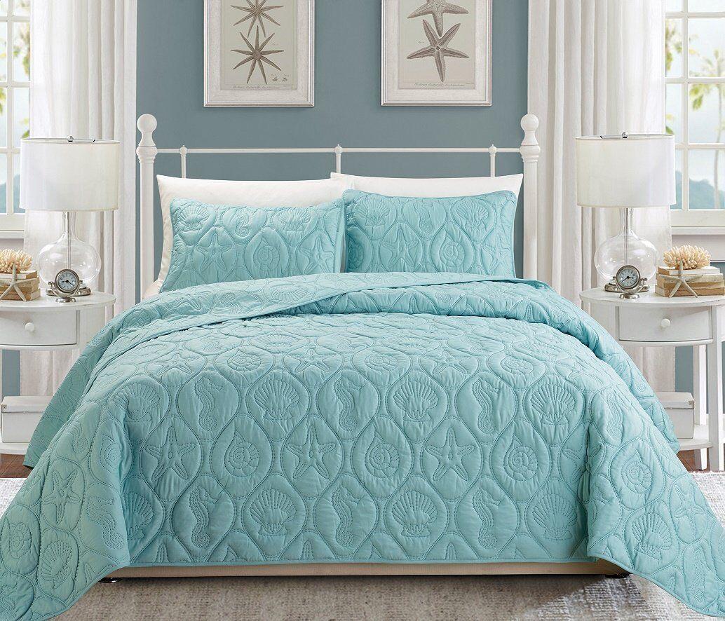 Cal King Comforter Set Ocean Themed Bedding Bedroom Seashell Spa bluee Coastal