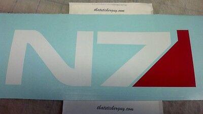 N7 Mass Effect ps3 ps4 x box Vinyl Decal Car window Sticker 2x7 inch WHITE RED