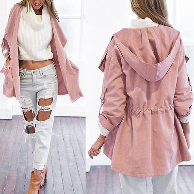Women Warm Hooded Long Coat Jacket Trench Windbreaker Parka Outwear Pullover