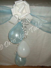 Baby Boy Christening Day Party Table Decoration Pack - Organza, Balloons & Bows