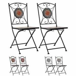 vidaXL 2x Chaises de Bistrot Mosaïque Pliante Jardin Terrasse Multicolore
