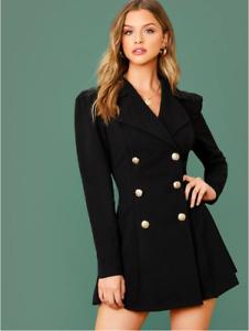 Black Notch Collar Double Breasted Long Sleeve Elegant Blazer Dress Sz XS S M L