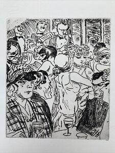 Jean dulac engraving water forte etching dancing in montmartre paris bistro art deco