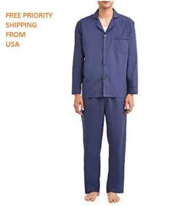 Hanes Mens Woven Plain-Weave Pajama Set