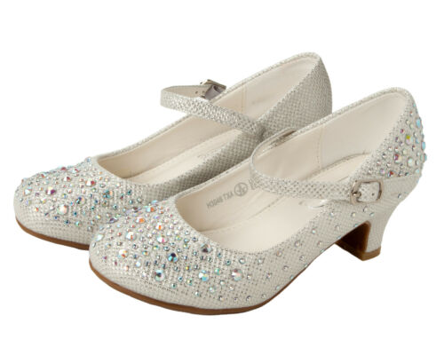 GIRLS WHITE DIAMANTE LOW HEEL BRIDESMAID PARTY MARY JANE COURT SHOES UK SIZE 9-2