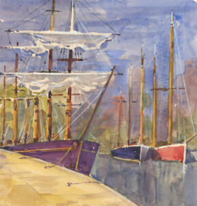 Clifford H. Thompson (1926-2017) - 2011 Watercolour, Boats in a Harbour