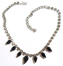 collier ancien bijou vintage coul or blanc cristaux swarovski poire noir * 2764