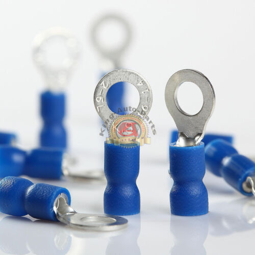 100 Car Ground Wire Ring Terminals Vinyl Blue 16-14 Gauge AWG Ga Connectors #10