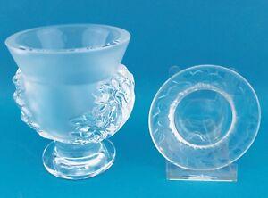 2x-Lalique-Glas-Vase-amp-Schale-France-Crystal-signiert-Kristall-11-6-amp-9-5-cm