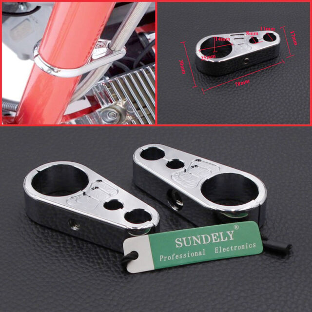 25MM CHROME ALLOY BRAKE CLUTCH CABLE WIRE CLAMP CLIP FOR MOTORCYCLE HARLEY