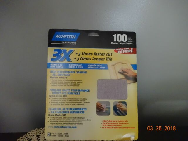 Norton 02616 3X Handy Aluminum-Oxide Sandpaper 220 Grit 15 9-Inch X 11-Inch