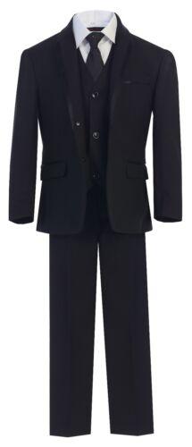 Magen Kids Boys Formal Bridal 5 Pcs Set Suit Size 1-18 Black 2 Buttons TX-5088