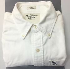 Abercrombie & Fitch Ivory Classic Oxford Button Down Shirt Mens Muscle Fit M