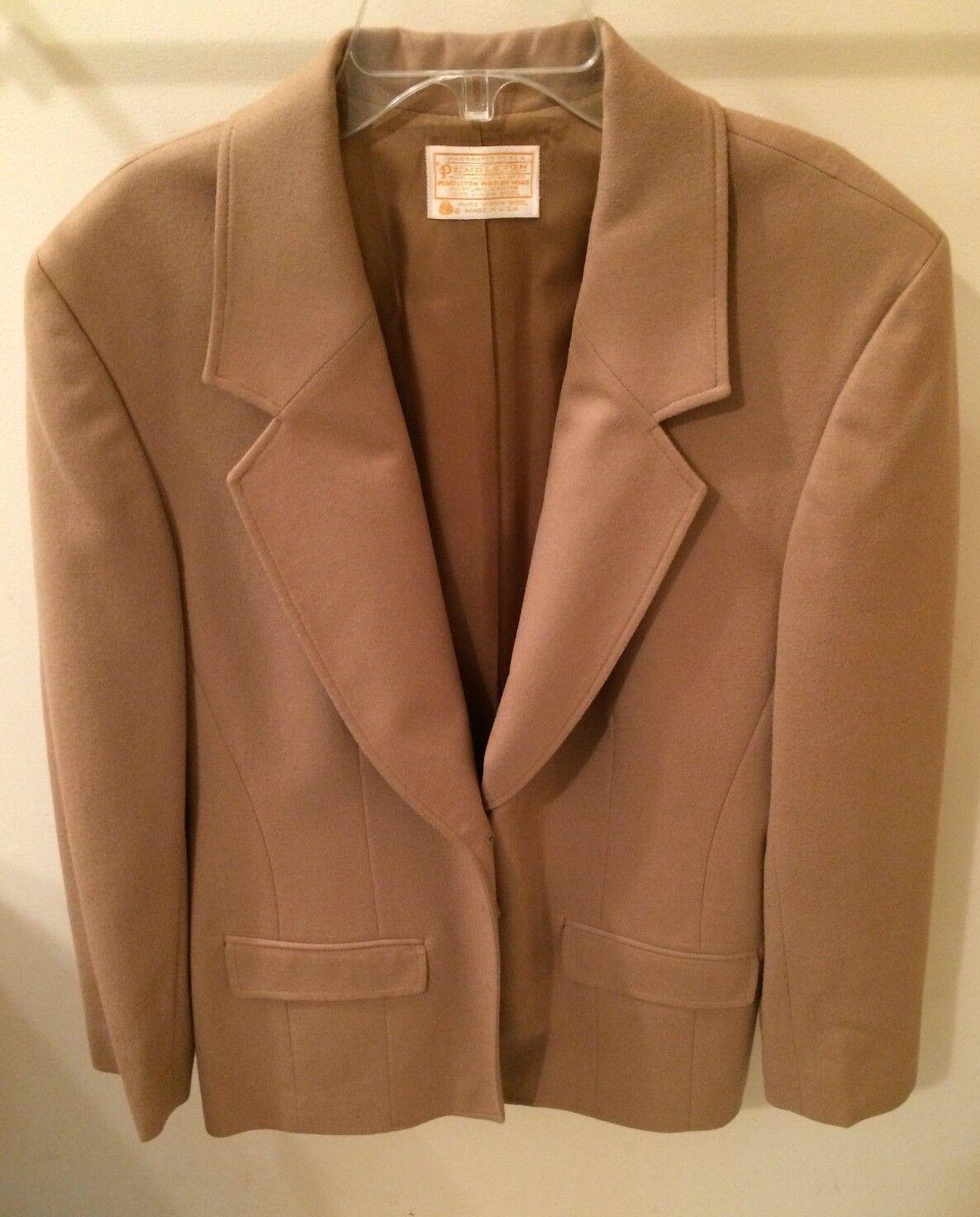 Women's Pendleton Beige Lined Blazer USA 100% Virgin Wool Bust 41