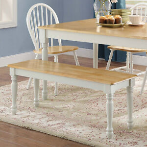 Details about Kitchen Table Bench Breakfast Nook Long Seat Rustic Dining  White Farmhouse Chair