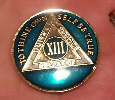 Rich Mandarin Red Enamel 13th XIII Anonymous 13 Year AA Sobriety Coin Medallion