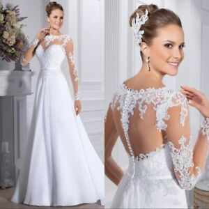 White-Ivory-Wedding-Dresses-Bridal-Gowns-A-Line-Laced-Long-Sleeves-Plus-SZ-4-30