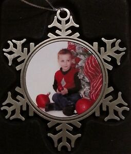Snowflake shaped pewter US NAVY Christmas ornament in gift box