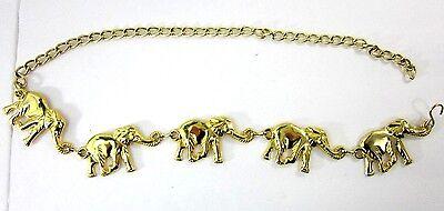 "Gold Tone Fashion 5 Elephant Chain Belt Republican Safari Fits max 37"" Waist"