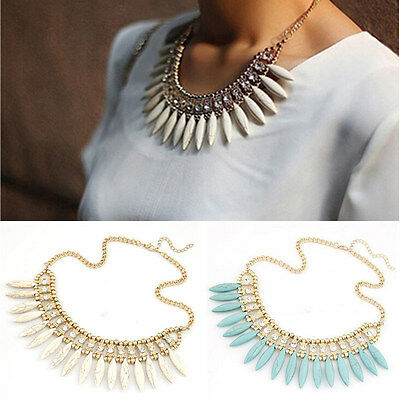 Women Fashion Crystal Pendant Chain Choker Chunky Statement Bib Necklace