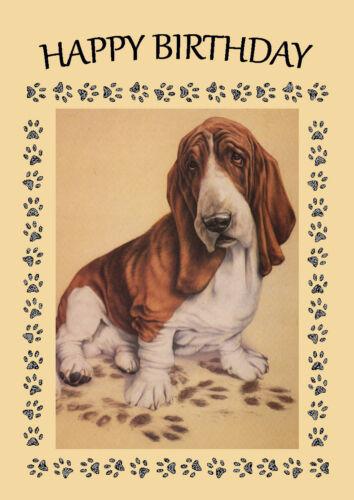 BASSET HOUND MUDDY FOOTPRINTS DOG BIRTHDAY GREETINGS NOTE CARD