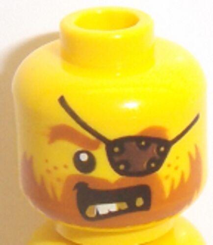 Lego Yellow Head x 1 with Beard Dark Orange Gold Teeth Eyepatch for Minifig
