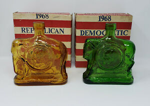 Vintage-Wheaton-Nuline-1968-Presidential-Campaign-Glass-Bottles-Nixon-Humphrey