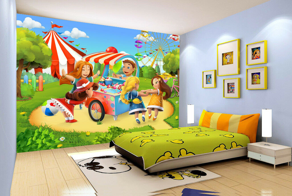 3D Cartoon Park 7003 Wallpaper Mural Wall Print Wall Wallpaper Murals US Lemon