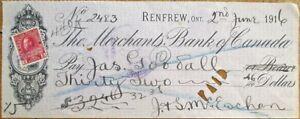 Renfrew-Ontario-1916-039-Merchants-Bank-of-Canada-039-Check-w-Revenue-Stamp-Ont