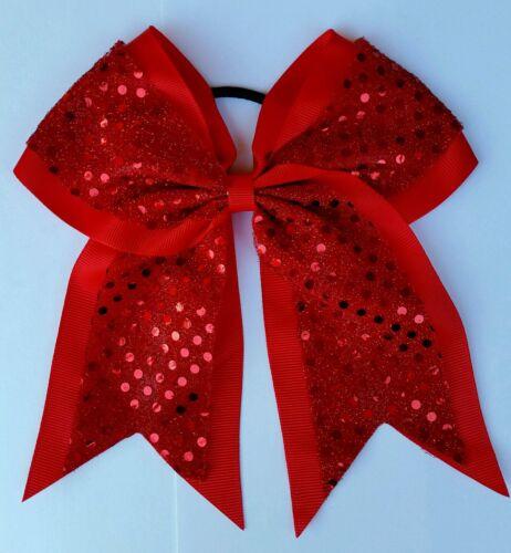 "RED RIBBON WEEK 8/"" Red Sequins Softball Cheerleading,SOCCER Big Cheer Bows"