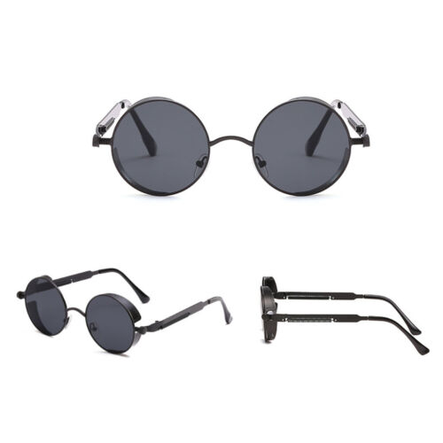 Steampunk Style Round Polarized Sunglasses Eyewear UV400 Protection Metel Frame