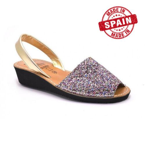 Spagna Sandali Donna Zeppa Di Multicolore Minorca Glitter Pelle axq7B0ra
