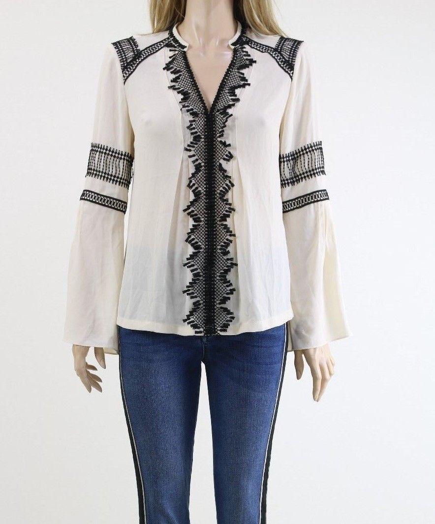 Karen Millen TA056 Embroiderot Ivory schwarz Lace Detail Blouse Jumper
