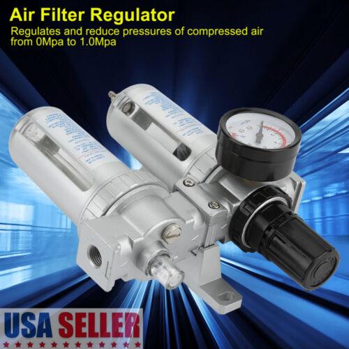 "1//4/"" Regulator Control Moisture Filter Trap Oil Lubricator For Air Compressor"