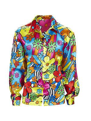 Razionale 70s Flower Camicia Colorata Motto Party Carnevale-mostra Il Titolo Originale Servizio Durevole
