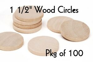 LOT-of-100-1-1-2-Inch-Wood-Circle-Craft-Disk-Pendants-amp-Magnets-by-PLD
