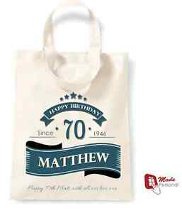 Image Is Loading PERSONALISED 70th Birthday Gift Cotton Tote Bag Banner
