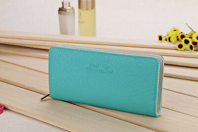 Women's Leather Wallet Zip Around Case Purse CardsCoins Bag Lady Long Handbag