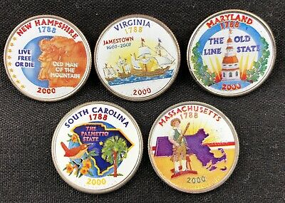 Colorized 2000 State Quarter 5 Coin Set