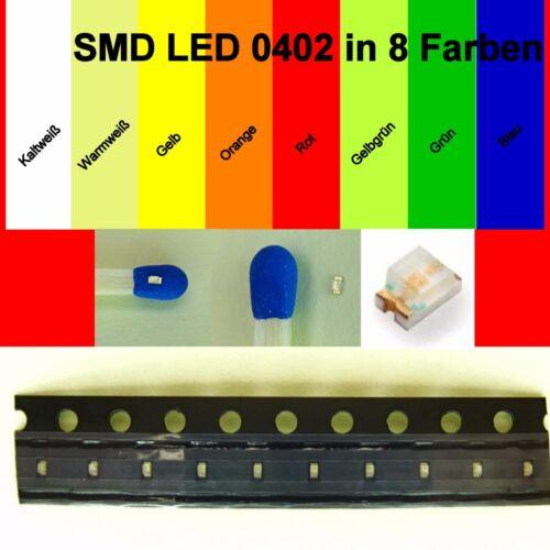 SMD LED 0402 in 8 verschiedenen Farben 1//10//25//50//100 Stück zur Auswahl