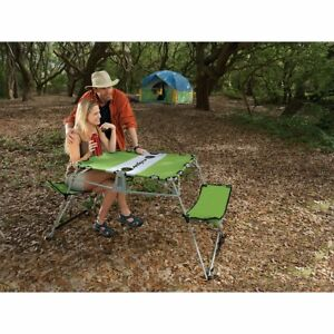 Kelsyus Ogo Table, Green Tabletop and Bench Seating In One Camping