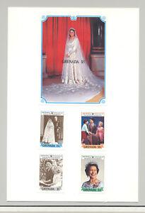 Grenada-1577-1581-Queen-Elizabeth-4v-amp-1v-S-S-Imperf-Proofs-on-Card