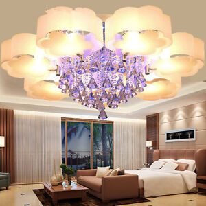 Modern LED Crystal Shade Ceiling Light Living Room Bedroom Lobby Pendant Lamp