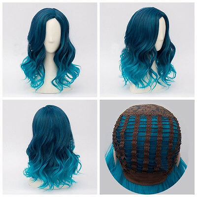 Lolita Heat Resistant Mixed Blue Ombre Curly Lady Harajuku Cosplay Wig Hairpiece
