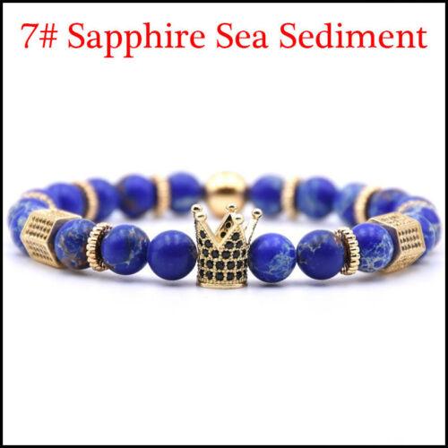 Luxe Hommes Micro incrustation or couronne Bracelet 8 mm pierre naturelle Sea Sediment