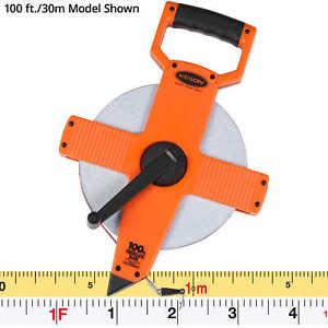 200 Ft Steel Open Reel Tape Measure ABS Housing Speed Rewind SAE Steel Blade